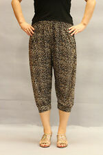 Women's Pants 3/4 Harem Cropted Super Soft Comfy Baggy Trousers One Size:8>16