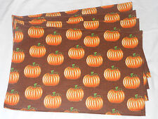 Autumn Fall Halloween Holiday Brown Orange Pumpkins Gold Set of 4 Placemats