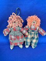 "Vintage Boyd's Bears Ornaments RAGGEDY ANN & ANDY Primitive Dress 6"" SET 2 ❤️m13"