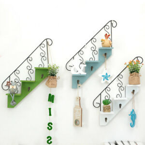 Wooden Iron Staircase Flower Frame Wall Hanging Shelf Home Decor Hook 3 Layers
