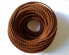 Brown Antique Braided Woven Fabric Lamp Cable Wire Cord Light Electric Flex