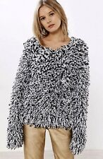 NEW Urban Outfitters Glamorous black white Loopy ShaggyFringe Pullover Sweater S