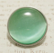 Green Cat's Eye Jewel Glass Pop It Snap In Noosa Style Metal Button Chunk Charm