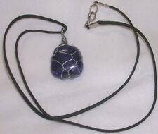 "LAPIS LAZULI GEMSTONE  20 X 22mm WIRE WRAPPED PENDANT 20"" BLACK CORD NECKLACE"
