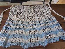 Vintage Handmade Women's Half APRON Blue And White Crocheted Apron