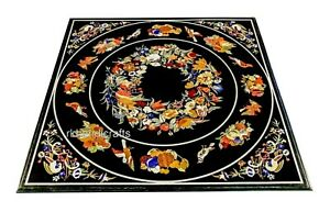 Black Marble Dinette Table Pietra Dura Art Coffee Table with Antique Work