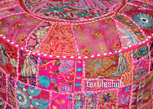 "22"" Indian Pink Pouf Cover Cotton Ottoman Handmade Sari Patchwork Cushion"