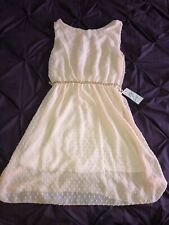 Ladies Lv & Gold Dress BNWT Made In Italy Faux Pearl Metallic Belt Peach Size 10