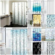 Printed Shower Curtain 100% Polyester Water Resistant Washable + 12 Hook 180x180