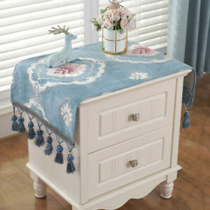 Chenille Tassel Tablecloth Table Cover Bedside Furniture Dustproof Floral Print