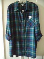 Updated Color! Old Navy Green Blue Plaid Cotton Flannel Tunic Shirt 2X 18 20 XXL