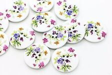 Large White Flower Wooden Button Floral White Four Hole Sew On Wood 30mm 20pcs
