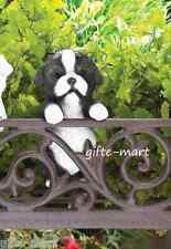 Border Collie puppy dog climbing fence hanging outdoor garden statue patio yard