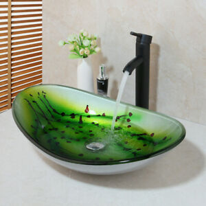 Black Glass Drop In Top Mount Bathroom Sinks For Sale Ebay