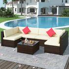 7pc Outdoor Rattan Sectional Sofa Chair Table Set  Patio Garden Furniture Set