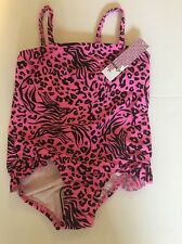 Kenzie Girl Pink Leopard One Piece Bathing Suit Size 4 Girl's NWT Cruise