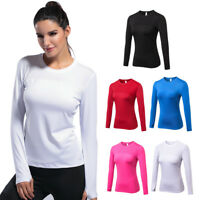 Women's Compression Thumb Holes T-Shirts Long Sleeve BaseLayer for Yoga Running
