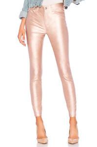 Free People Pearl Pink Vegan Leather Long & Lean Legging Pants Size 28