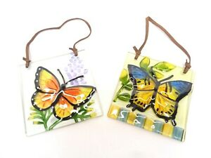 2 WINDOW SUNCATCHERS BUTTERFLY RECYCLED ART GLASS SQUARE TILES HAND CRAFTED