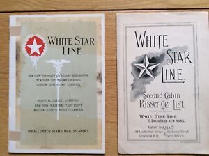 White Star Line passenger lists from 1902 and 1922 Olympic Titanic.