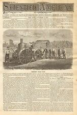 Rochester, NY. Farming, Redmond's Steam Plow, Vintage 1870 Antique Print