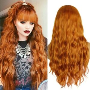 24inch No Lace cosplay wigs with bangs  Daily use Orange Full Head