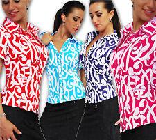 Geblümte Kurzarm Damenblusen, - tops & -shirts mit klassischem Kragen
