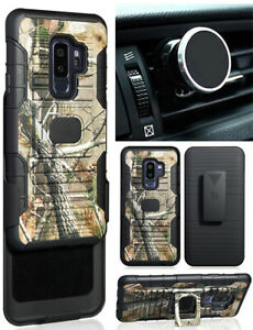 Camo Tree Case + Belt Clip + Magnetic Car Mount for Samsung Galaxy S9 Plus, S9+