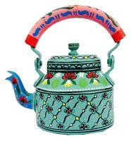 Tea Kettle Indian Hand Painted Traditional Aluminium Colorful Decorative Decor