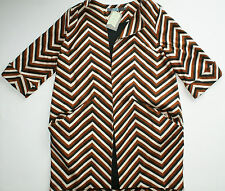 Eva Franco Anthropologie Wmn Chevron Lightweight Car Coat Jacket USA XS / S NWT