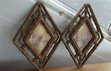 Home Interiors/Homco Pair Cottage/Water Scene Diamond Shaped Wall Plaques 3253