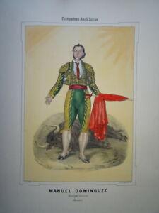 GRANDE LITHO COULEUR ANDALOUSIE COSTUME ANDALOU HOMME ESPAGNE SEVILLE 1854