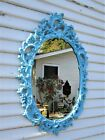 VTG Mid-Century Ornate Syroco Style Oval Mirror Turquoise Blue