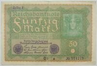 1919 50 (Funfzig) Mark Reichsbank Note Germany Fancy SN#774775   (073118)