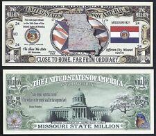Lot of 100 Bills- MISSOURI STATE MILLION DOLLAR BILL w MAP, SEAL, FLAG, CAPITOL