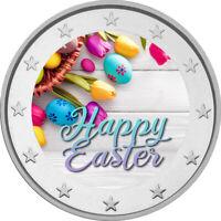 2 Euro Gedenkmünze Ostern coloriert Farbe / Farbmünze / Blumen / Eier Ostereier