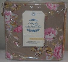 Rachel Ashwell Simply Shabby Chic Floral Castle Mocha PINK ROSES Twin Duvet Set