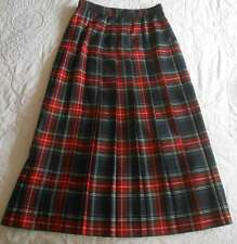 "Bedford Fair 12 Midi Plaid Tartan Pleated Skirt Christmas Red Green Waist 32"""