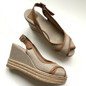 """tory burch canvas sling back wedge 4"""" heel size 8"""