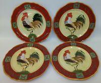 4 Sakura Sally Eckman Roberts Fairweather Friends Rooster China Dinner Plates