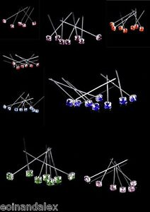 "72 High Quality Diamante Luxury Crystal Pins Diamonte 4cm/1.5"" Red Blue Purple"