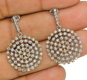 1CT Padparadscha Sapphire & White Topaz 925 Sterling Silver Earrings Jewelry