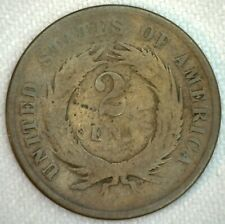 1864 US Two Cent Bronze Coin 2c United States Type Coin Good K56