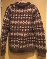 "Men's Copenhagen Wool Knit Sweater Nordic ~ Brown Beige~One Size(48""chest)"