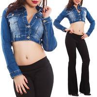 Giacca jeans donna denim giubbino corto giubbotto aderente slim fit nuovo  H510 18a2b369325