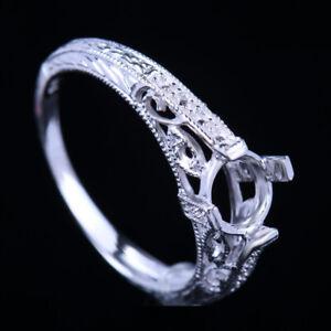 Lady 6mm Round Vintage Engagement Wedding Semi Mount Ring Setting 14K White Gold