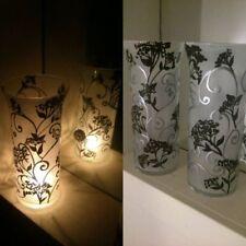 ONE Tall glass Candle Holders Hand Paint Tea Light, dinner table light ART