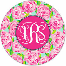 Monogrammed Mouse Pad - Pretty Pink Roses Floral Personalized Gift Monogram