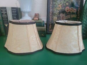 Pair of Vintage Ivory Gold Black Brocade Fabric Lamp Shades Free shipping