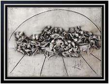 Salvador Dali Bronze Relief Sculpture The Last Supper Signed Silver Framed Art